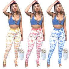 Fashion printed zipper sports pants