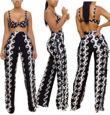 Sexy slim side tassel printed pants (single pants)