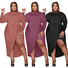 Solid long sleeve sexy dress