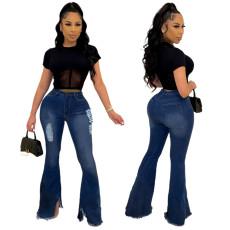 Fashion wide leg tassel pierced denim flared pants