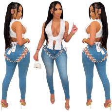 Fashion personalized corny strap jeans