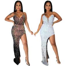 Fashion sexy suspender irregular split dress