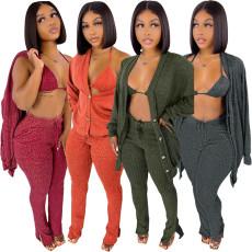 Wool coat underwear split pants 3-piece set