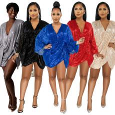 Irregular t sleeve dress sexy sequins