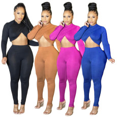 Knot exposed navel two-piece set