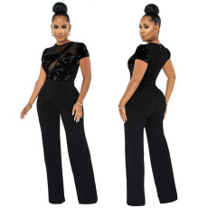 Fashion Sequin perspective short sleeve Jumpsuit