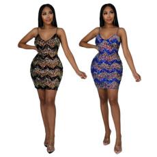 Fashion sexy Beaded suspender hip slim dress