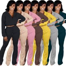Zipper shirt flare pants two piece set