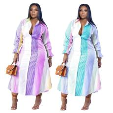 Stripe color matching double breasted Lapel long coat