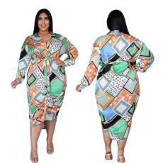 Fashion long sleeve shirt dress with belt