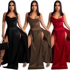 Sexy suspender split skirt dress