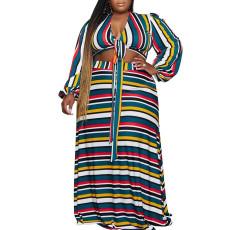 Fashion casual V-neck colorful stripe print suit