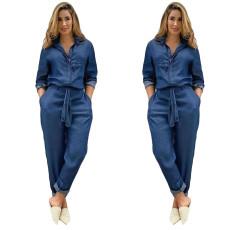 Fashion jeans with belt shirt Jumpsuit
