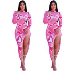 Fashion split waist sexy Mock Neck Dress