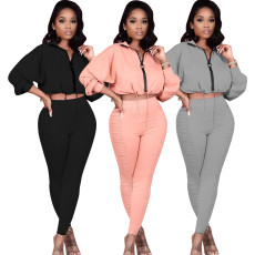 Wrinkled casual two piece set