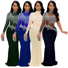Diamond mesh slim dress