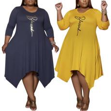 Fashion casual loose solid irregular dress