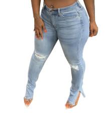 Ripped elastic split jeans