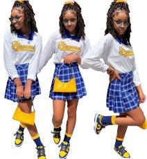 Letter long sleeve Pleated Skirt Set