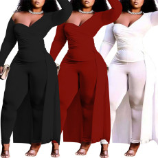 Fashion sexy casual wrap chest irregular pants suit