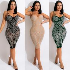 Deep V hot drill slim dress