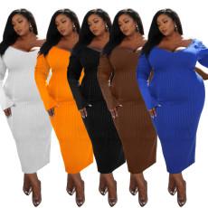 V-neck solid large dress