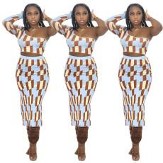 Single sleeve chest wrap vest skirt set