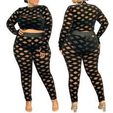 Fashion sexy casual perspective two piece set
