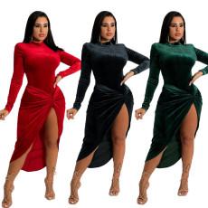 Sexy slit one-piece dress two-piece set
