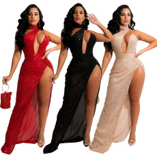 Fashion sexy high split irregular hot drill dress