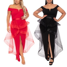 Fashion sexy middle split perspective mesh dress