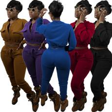 Fashion solid color cardigan top set