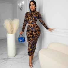 Fashion casual printed hollow out two piece set