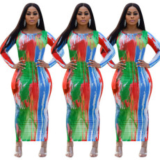 Fashion casual printed split dress