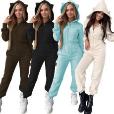 Fashion solid front zip waist Jumpsuit