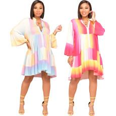 Casual fashion digital printed loose dress
