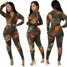 Sexy fashion digital print two piece set