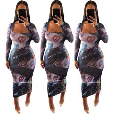 Tight print dress