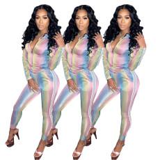 Digital printing rainbow ribbon sexy two piece set