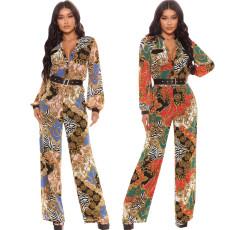 Sexy fashion digital printed V-neck Jumpsuit (without belt)