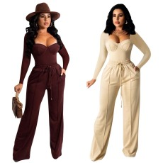 Fashion casual solid two piece set