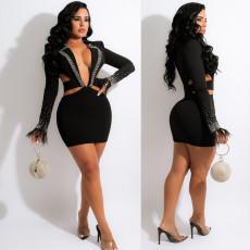 Deep V hollow out hot drill nightclub skirt