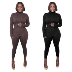 Fashion casual sexy high neck tight two-piece set
