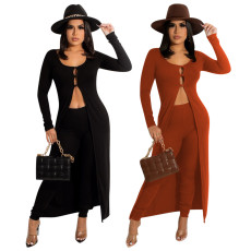Fashion solid color cardigan big Cape two piece set