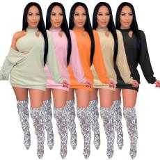 V-Neck Sweater Dress Vest two piece set