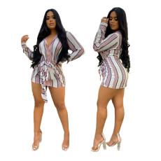 Fashion sexy Lapel stripe shirt skirt