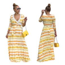 Fashion deep V-neck gradient stripe dress
