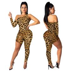 Sexy asymmetric leopard print Jumpsuit