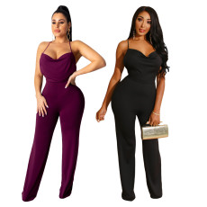 Sexy solid color strap backless Jumpsuit