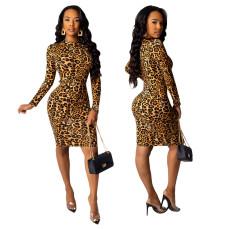 Sexy Leopard print one step dress